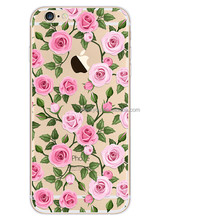 Clear Transparent Rose blossom flower case cute design TPU phone case for iPhone 6 6S