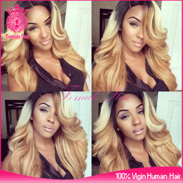 hot selling wet and wavy lace front wig dark roots brazilian human hair blonde wigs