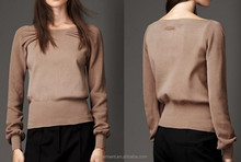 Women Pleat Detail Stretch Cotton Sweater