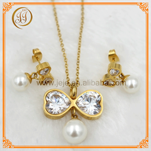 China Modern Bow Tie Design Elegant Pearl And Diamond Jewelry Sets