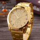 High End Luxury Three Eyes Dial Gold Stainless Steel Case Back Quartz Wrist Watches for Men