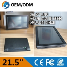 21.5 inch Intel Core i7-4790 3.6GHz Intel Core i5-4460 3.2GHz 1*DC 4*USB 1*COM 2*RJ-45 embedded industrial control computer