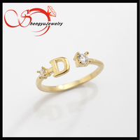 Letter hollow CZ brass adjustable open ring lady jewelry