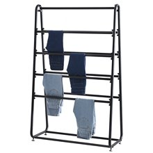 clothing store display furniture with Top Shelves, Black Steel Floor Display Rack