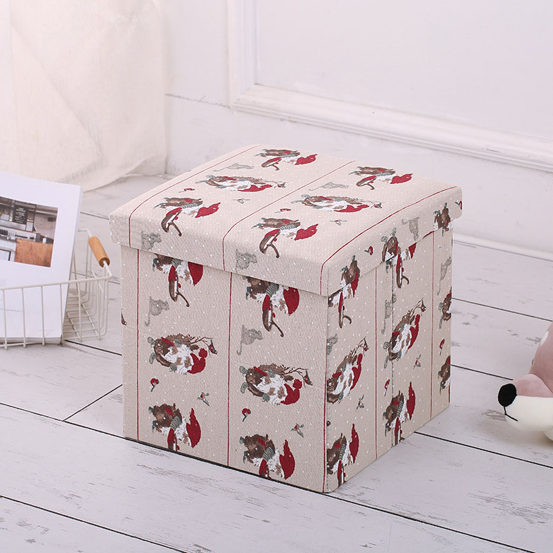 2019 New Arrival Printed Christmas Style  Lovely Storage Ottoman Stool
