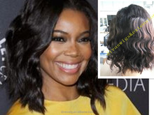 African american natural scalp wig remy hair short bob lace front wig