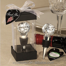M089 Wholesale custom crystal ball metal bottle wine stopper