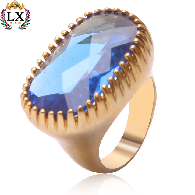 RLX-00400 luxury sapphire ring women fashion simple design finger artificial ombre blue jewelry alloy big sapphire ring