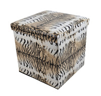 Leopard student stools folding fabric sofa ottoman for living room