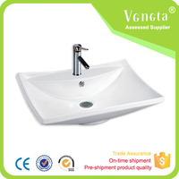 Bathroom sanitary ware sink ceramic above counter square art basin