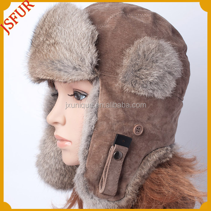 Thick soft rabbit fur made winter warm russian style fur hat
