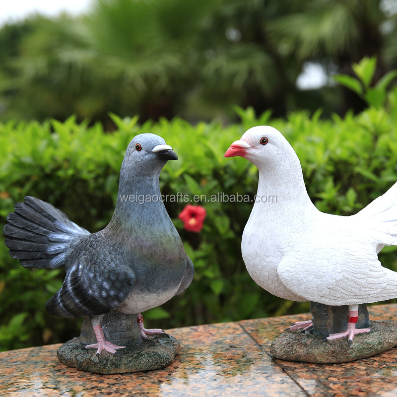 Resin Crafts Ornaments white/gray doves In Decoration