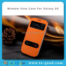 Alibaba China Hot Sale Dual Window View Mobile phone Accessories Case Cover For Samsung Galaxy S5 I9600 Orange