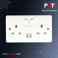 13A 2 Gang British Switch Socket With USB Outlet