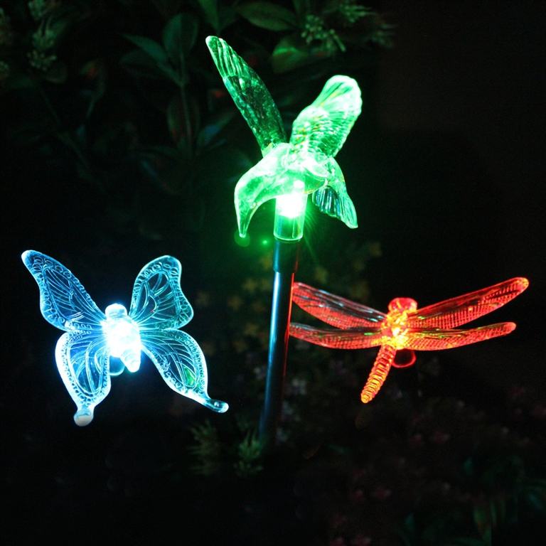 animal shaped Plastic dragonfly solar outdoor light