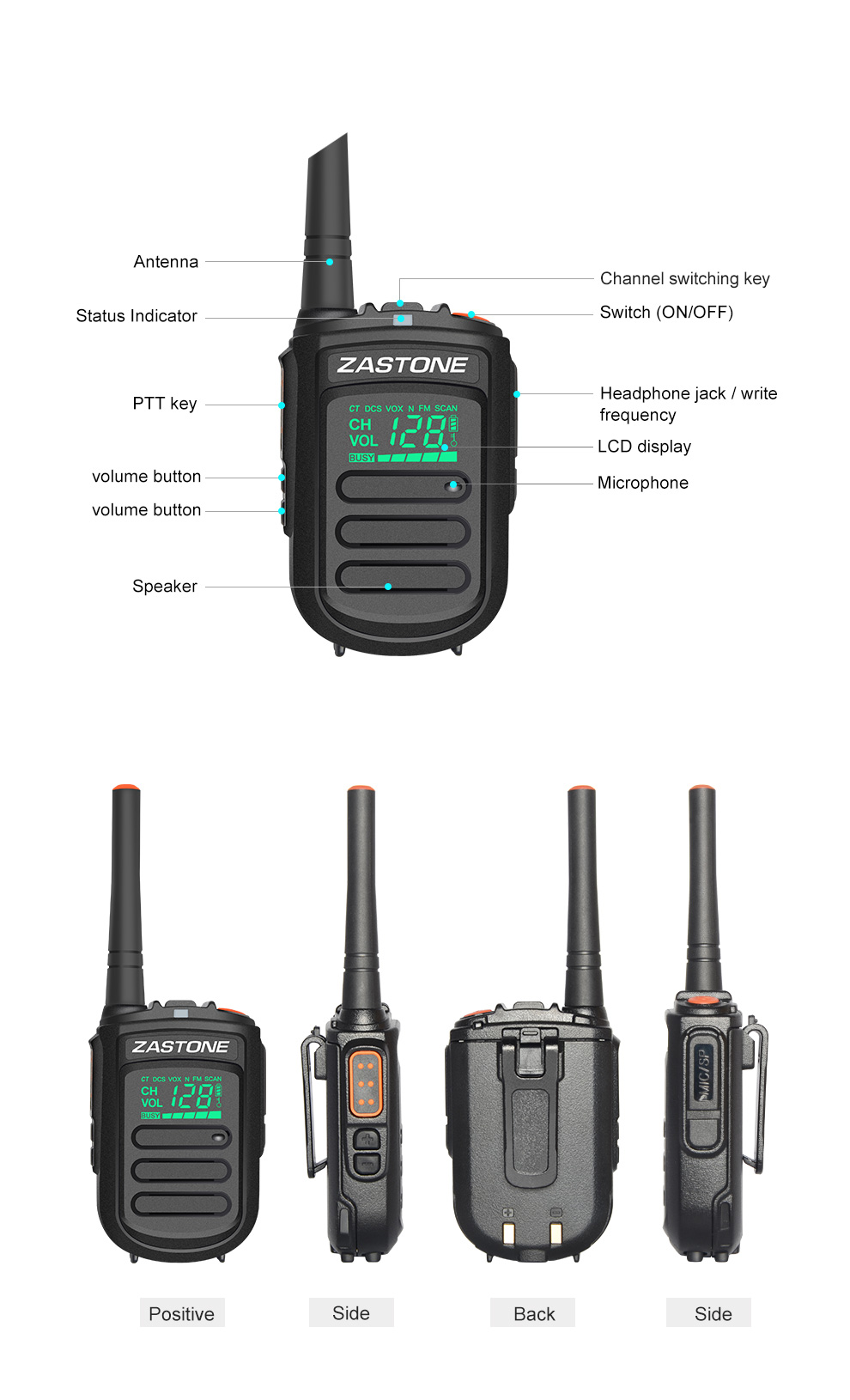 ZASTONE mini9 new released portable handheld 1500mhz 128ch VHF or UHF mini 2W slim walkie talkie