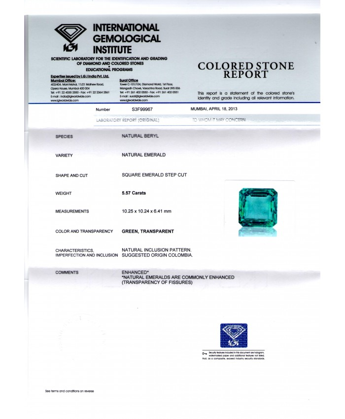 5.57 Ct Top Quality IGI Certified Natural Eye Clean Colombian Emerald AAAAA
