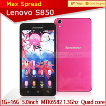 "5"" pink Lenovo S850 MTK6582 Quad Core Android 4.4 13mp 1GB RAM IPS Screen dual sim phone"