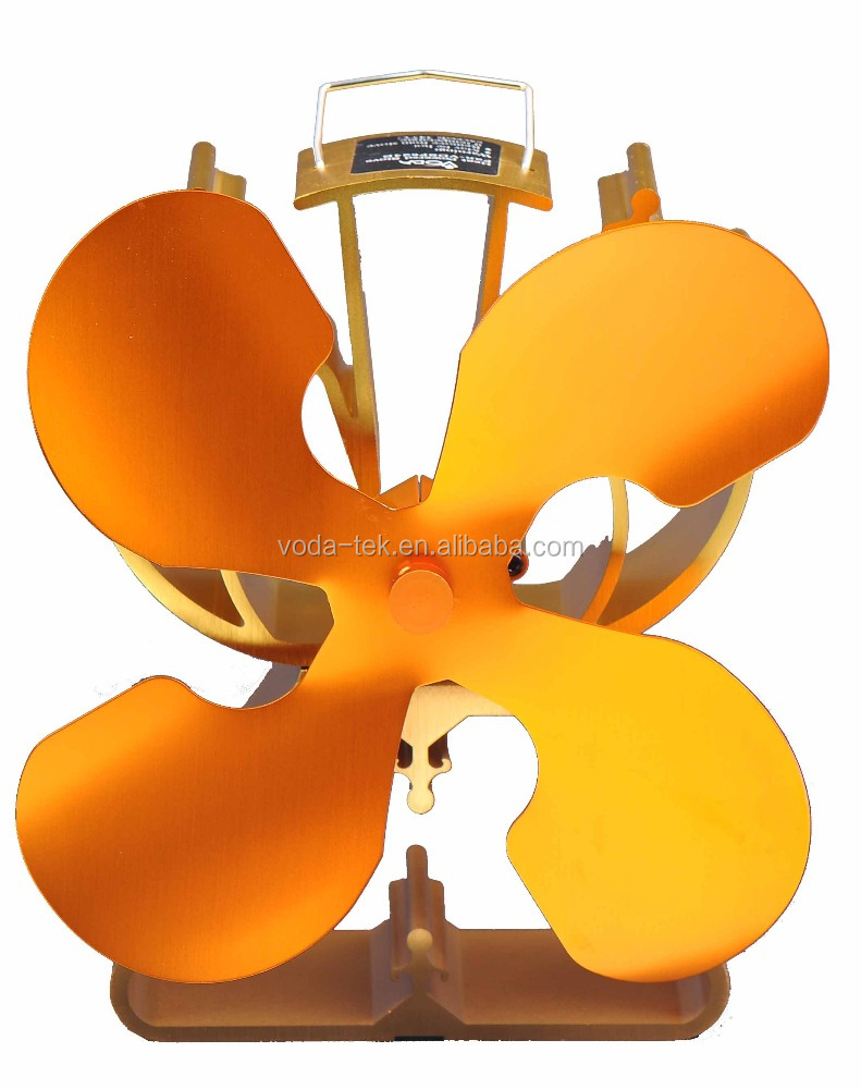 Luxurious Gold 4 bladed self powered wood burner stove fan