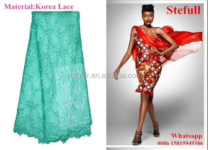 Stefull original african lace new design 100 cotton lace informal wedding dress