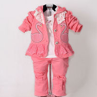 New Children Spring Clothing Set Baby Girls Wear 3 Pcs Red Hoodies And T Shirt And Kids Pants Child Garment P130202-9