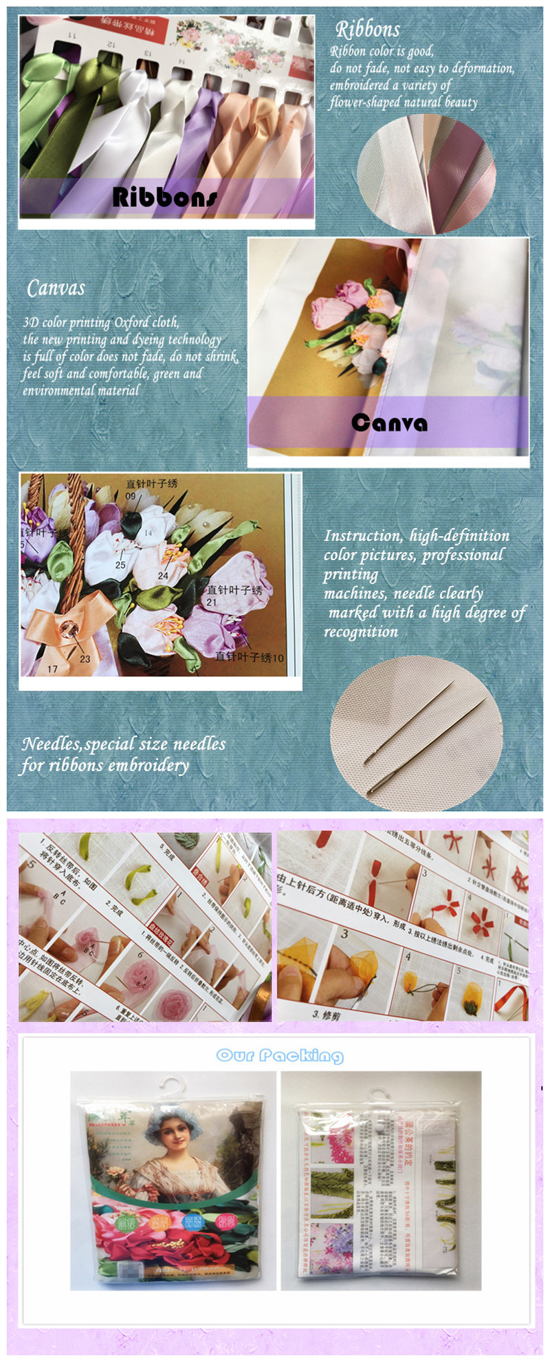 Needlework,DIY Ribbon Cross Stitch Sets for Embroidery kit,Garden Lake Flowers landscape bands embroidery wedding gift handwork