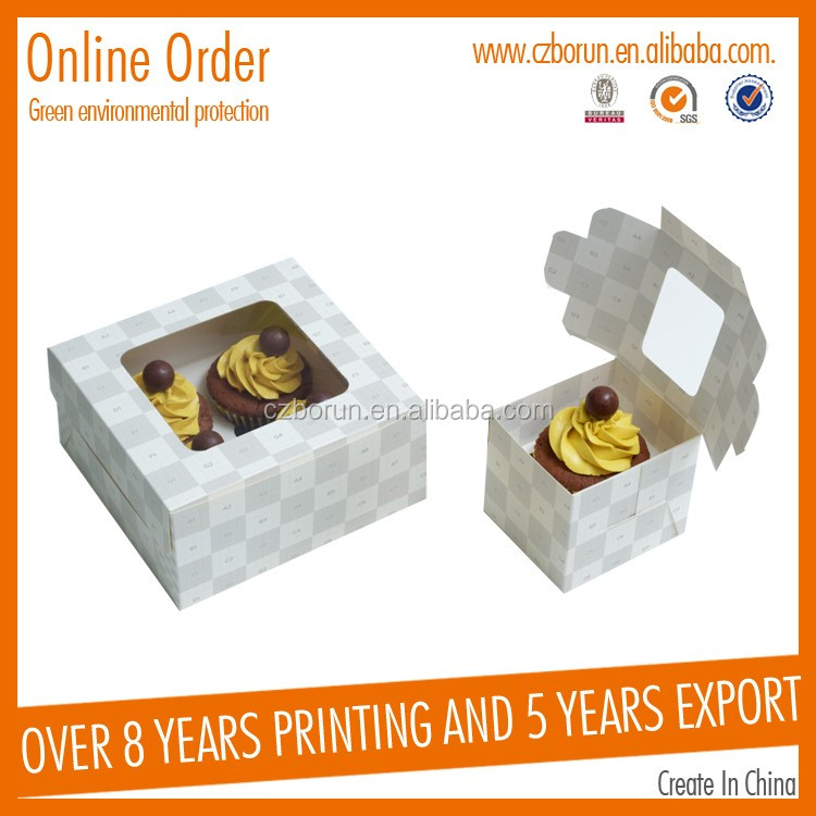 Custom printing folding colorful packaging paper box for food cake convenient for transportation