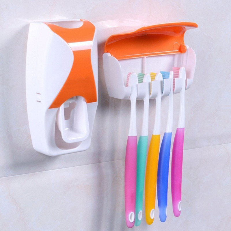 Automatic toothpaste dispenser toothbrush holder toothpaste tube squeezer