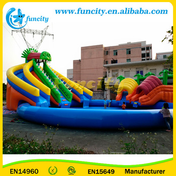 CE Approved Inflatable Water Park On Land With Slides / Swimming Pool Amusement