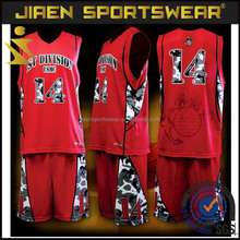 2016 new design custom basketball jersey black and red reversible basketball uniform set