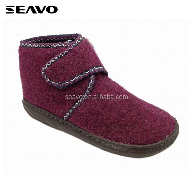 SEAVO AW18 fashion design purple flat women winter very warm quiet soft flet indoor shoes