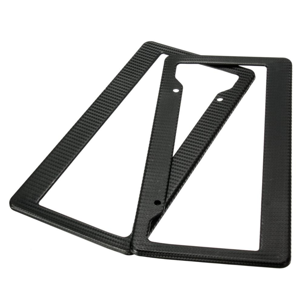 2 Pcs Universal Black Painted Style Front Rear License Plate Frames Tag Cover