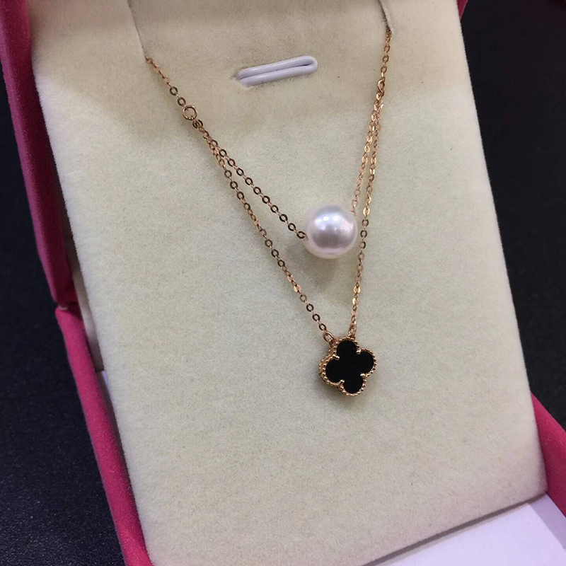 Sinya Hot 18k gold four leaf natural pearl pendant charm necklace for women white or black color optional Fine jewelry Hotsale (8)