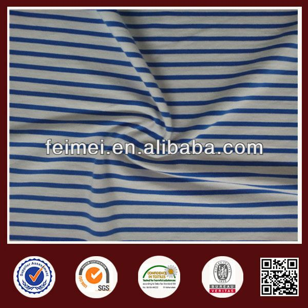 Fashion Environmental Protection Stretch Cotton Span YD Stripe Fabric And Blue White
