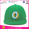 Wholesale 6 panel snapback hat flat brim fitted green caps
