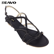 SEAVO SS18 fashion rhinestone adorn low heel style blacu ladies wedge sandals