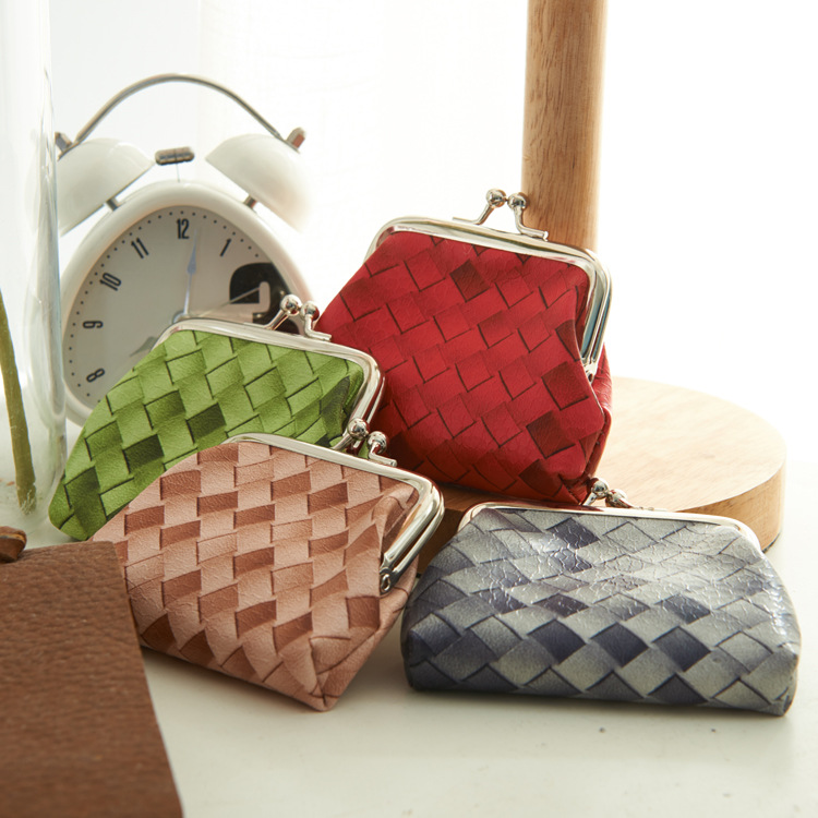 Free samples 6 colors PVC Weave pattern cheap custom mini soft leather coin purse