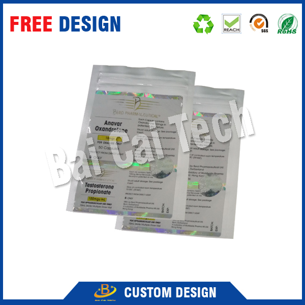 wholesale recycle custom printed reusable pills clear silver hologram medicine ziplock aluminum foil bag, aluminum foil pouch