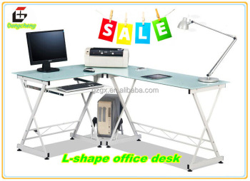 GX-610 Modern Glass L-shape office desk