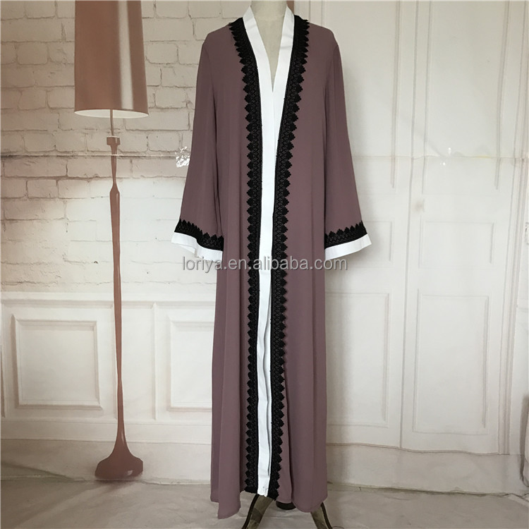 Islamic clothing long sleeve women open abaya new design muslim maxi dress