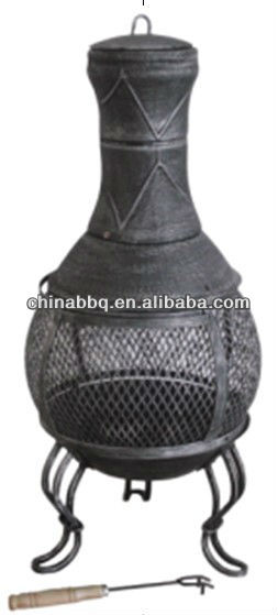 cast iron chiminea with bbq grill Cast iron outdoor heater