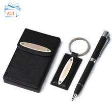 Promotional Leather name card holder Pen Keychain Gift Set With Custom <strong>LOGO</strong>
