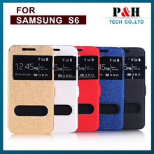 Window Touch Protective Leather Case for Galaxy S6, Side Flip PC+PU Leather Protective Case for Samsung Galaxy S6