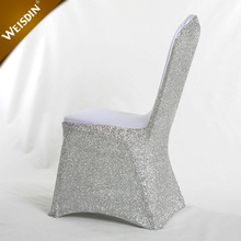 Wholesale cheap universal silver glitter sequin spandex chair covers for weddings