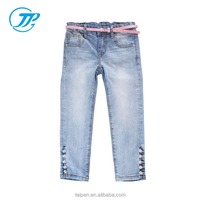OEM 100% Cotton Kids Girls Jeans Navy Blue Casual Jeans Pants Summer Collection