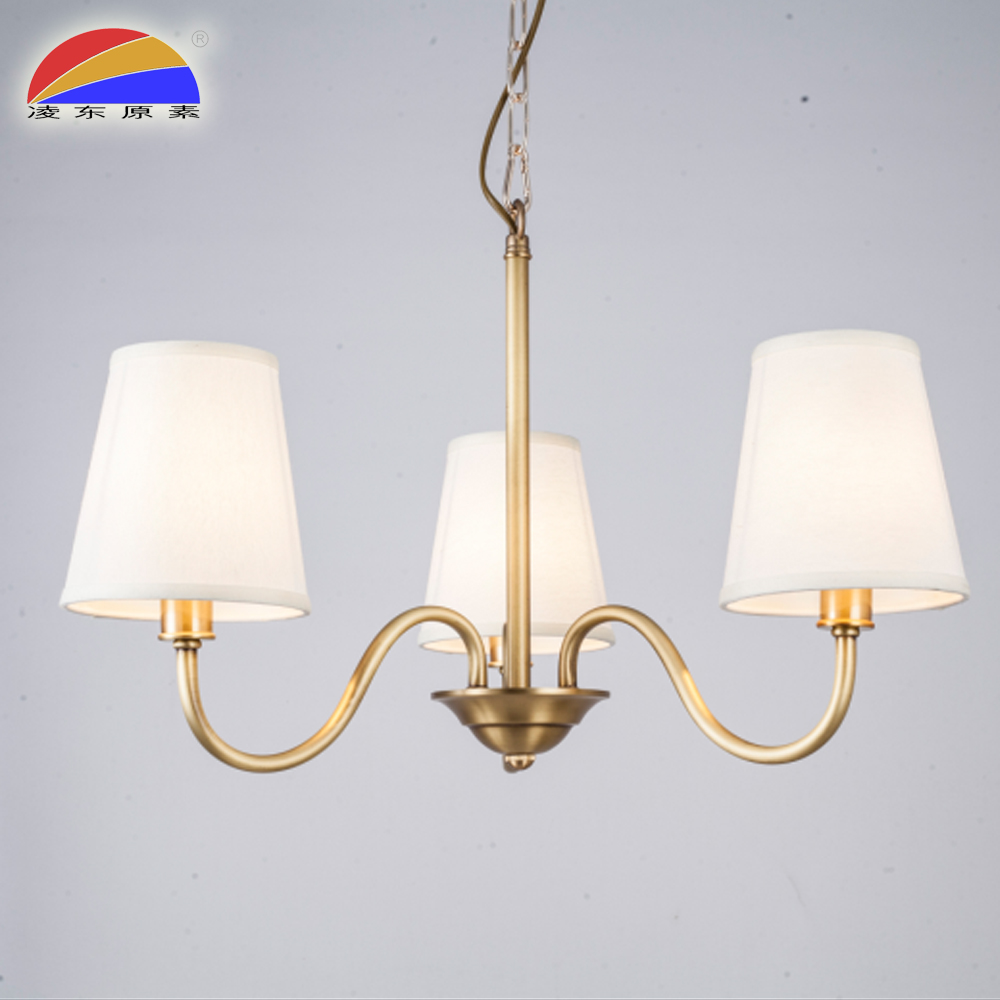 LD16049P32523 energy saving brass material pendant lamp modern with 3 fabric lampshades