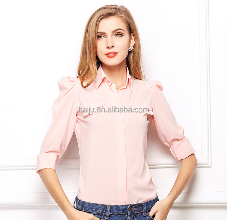 fashion design short sleeve nude color chiffon plus-size lady blouse pink&green