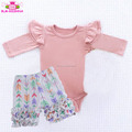 Baby Girls double ruffle rompers brand clothes playsuit custom print bodysuit baby long sleeve two layer cotton flutter onesie