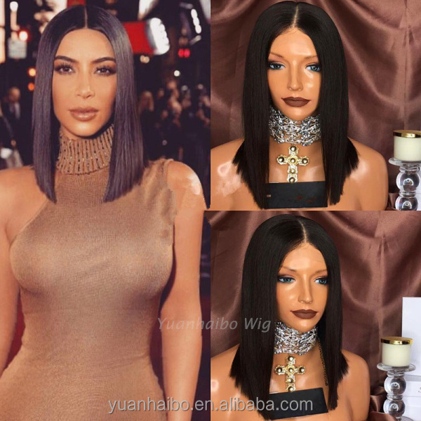 Hot selling precut bob glueless wigs brazilian virgin hair pretty short bob style lace front wigs for black women