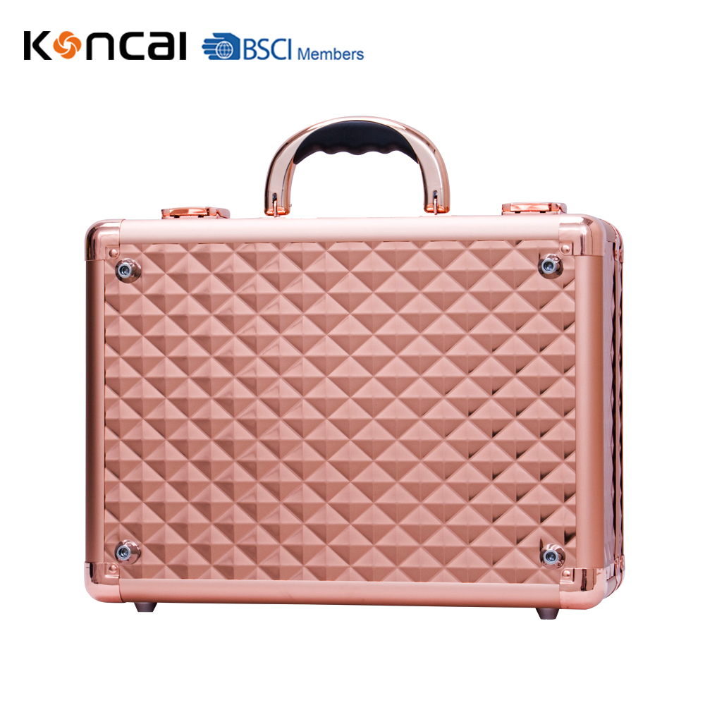 Promotional Aluminum cosmetic bag with compartment and handle Beauty case